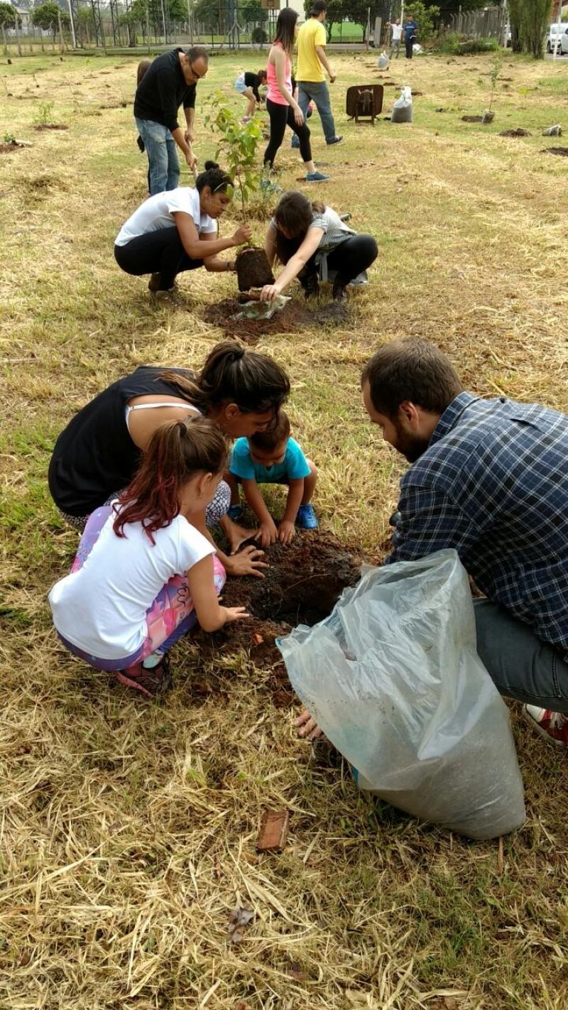 Crianças participam de plantio em Nova Odessa